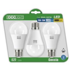 Eco Light - 3 Goccia Led - E27 - 12 W=75 W - 3000 K