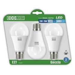 Eco Light - 3 Goccia Led - E27 - 12 W=75 W - 6400 K