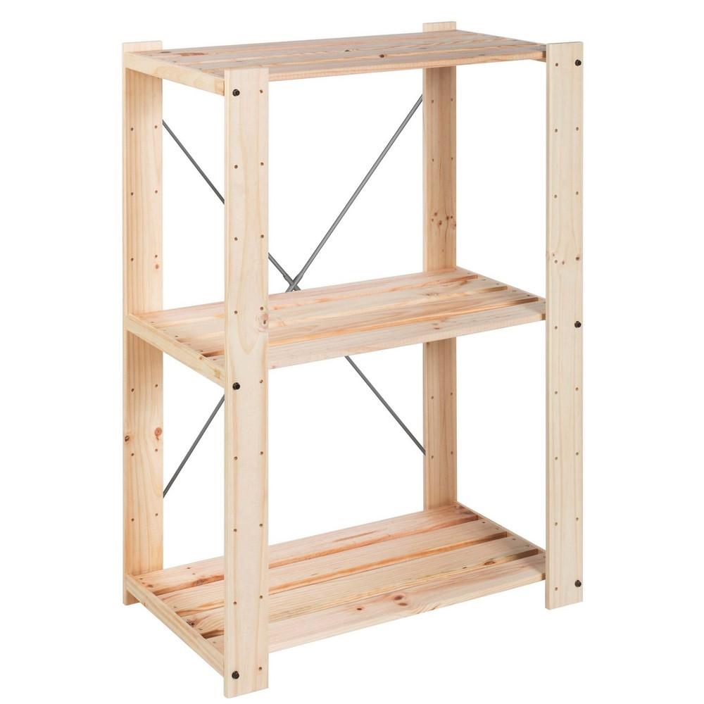 Astigarraga scaffale in kit pino grezzo shop online su for Scaffali in legno grezzo