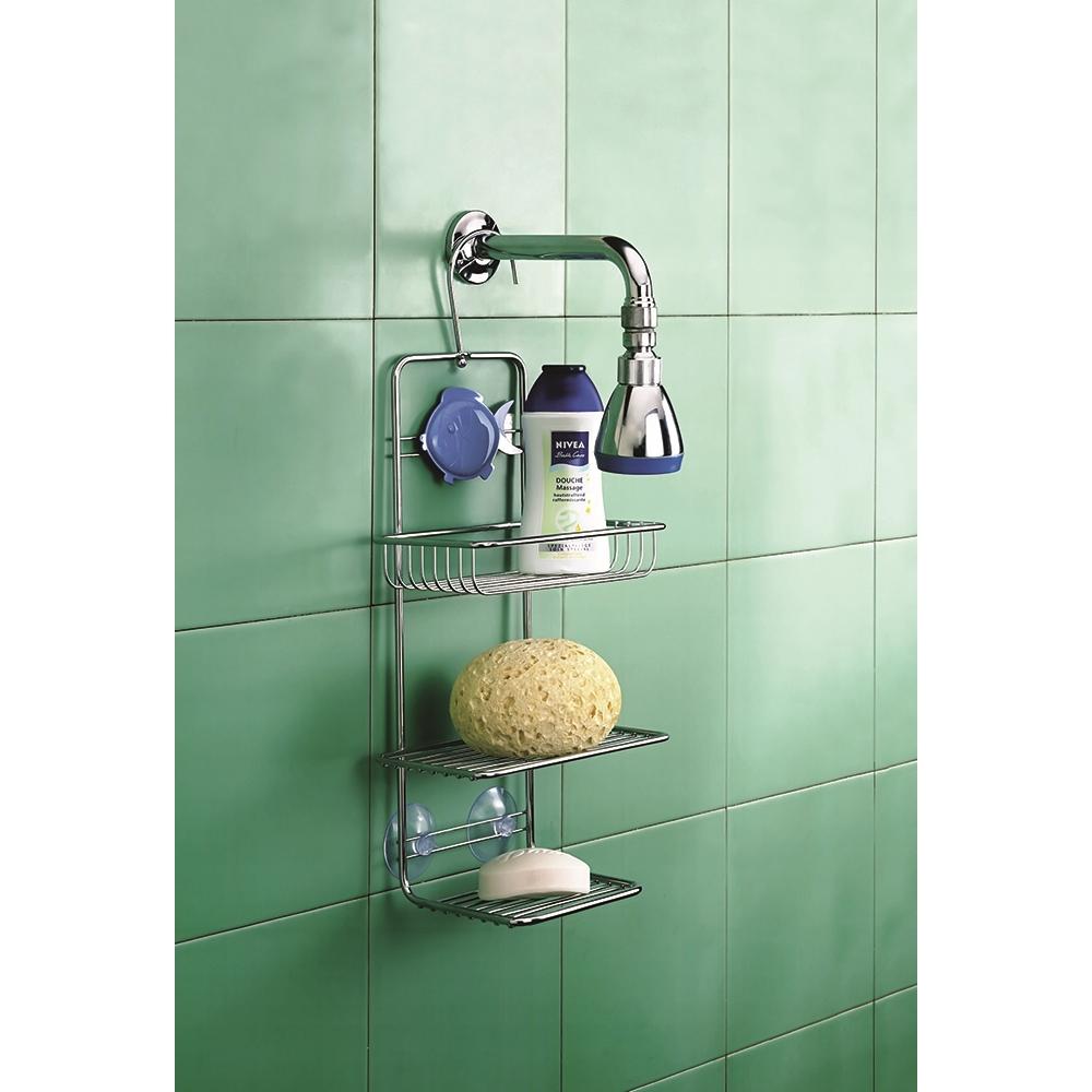 Metaltex supporto 3piani per doccia con aggancio ventosa for Accessori per doccia