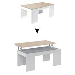 KESTILE - Tavolino Sollevabile Vanilla A7 Rovere/Bianco