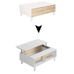 KESTILE - Tavolino Sollevabile Vanilla A4 Bianco/Rovere