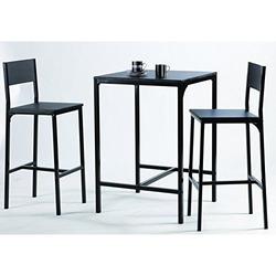 KESTILE - Set Tavolo + 2 sgabelli Black D21 Nero