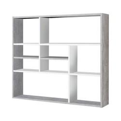 KESTILE - Libreria a Muro Liberty C11 Grigio/Bianco