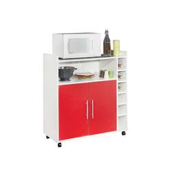 KESTILE - Carrello Cucina Ramsay C8 Bianco/Rosso