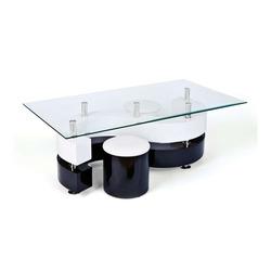 KESTILE - Set Tavolino + 2 Pouff Galaxy B6 Bianco/Nero/Trasp