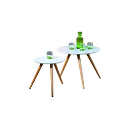 KESTILE - Set 2 Tavolini Danke A2 Naturale/Bianco