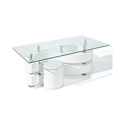 KESTILE - Set Tavolino + 2 Pouff Galaxy B5 Bianco/Cromo/Tras