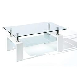 KESTILE - Tavolino London A4 Bianco/Cromo/Trasparente