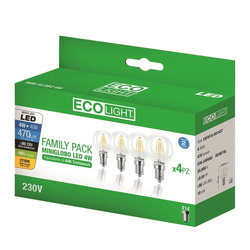 ECO LIGHT - Lampada Ecolight Led E14, 4W, 4 pz