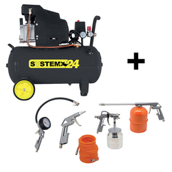 SYSTEM+ - Compressore 24 lt + kit 5 Accessori