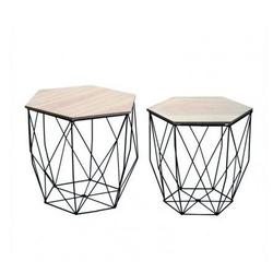CRIBEL - Set Tavolini Hexagon Nero