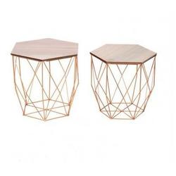 CRIBEL - Set Tavolini Hexagon Gold
