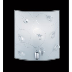 TRIO - Applique rettangolare vetro satinato e gemme - 40w