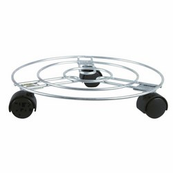 VERDEMAX - Sottovaso rotondo ¯ cm 30 in acciaio con ruote