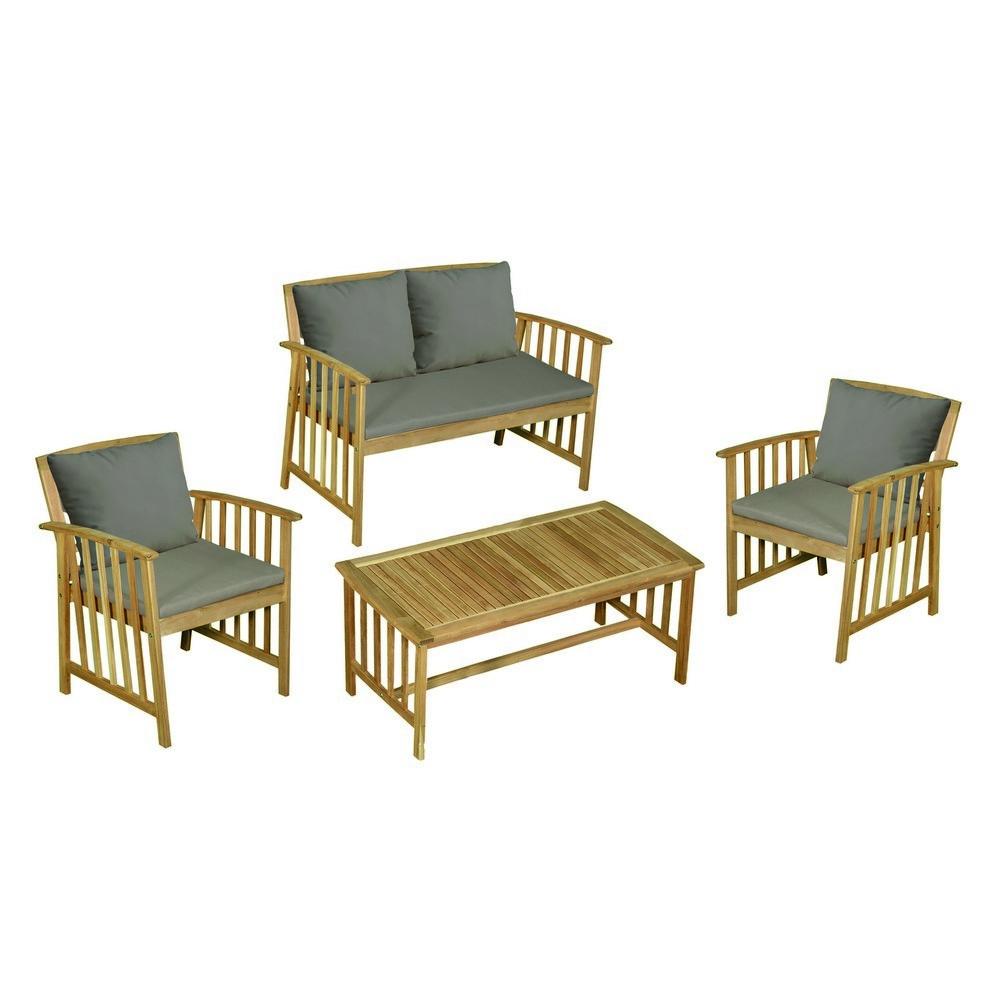 Divano In Muratura Per Esterno salotto acacia 1 divano+2 poltrone+1 tavolino